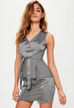 Grey Crepe Satin Frayed Hem Mini Skirt