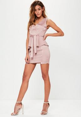 Pink Crepe Satin Frayed Hem Mini Skirt