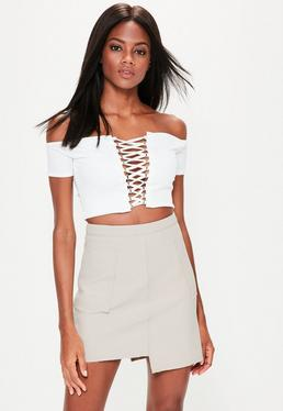 Premium Grey Crepe Raw Hem Mini Skirt