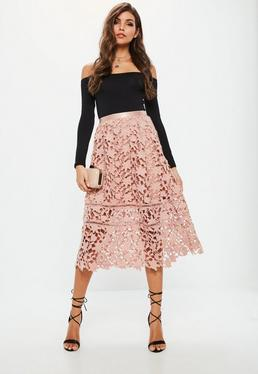 Premium Pink Crochet Lace Full Midi Skirt