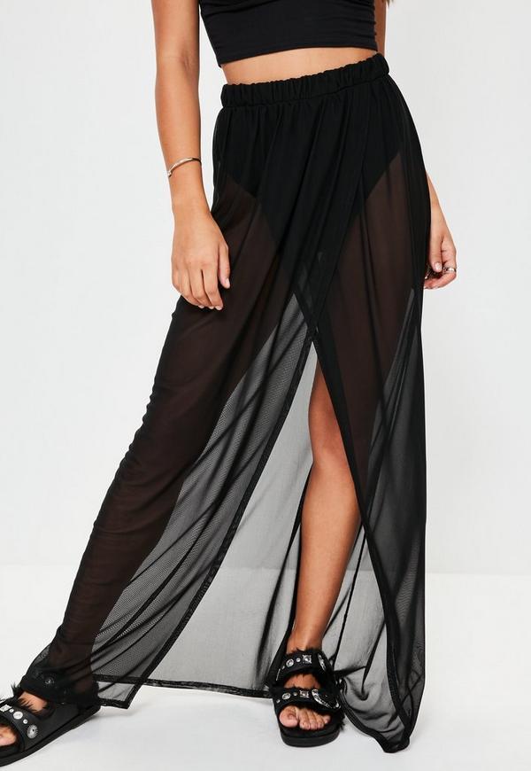 black mesh maxi skirt missguided