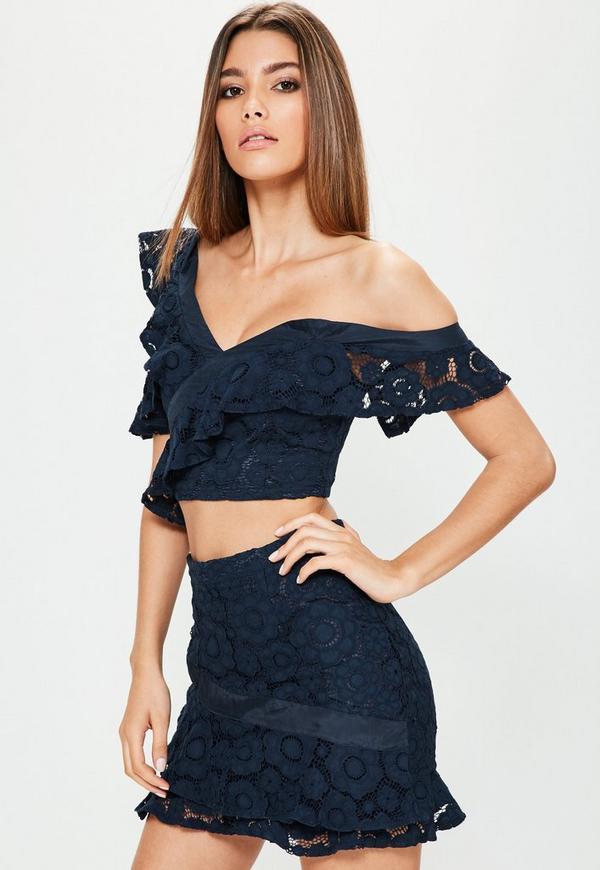 Navy Lace Frill Detail Mini Skirt