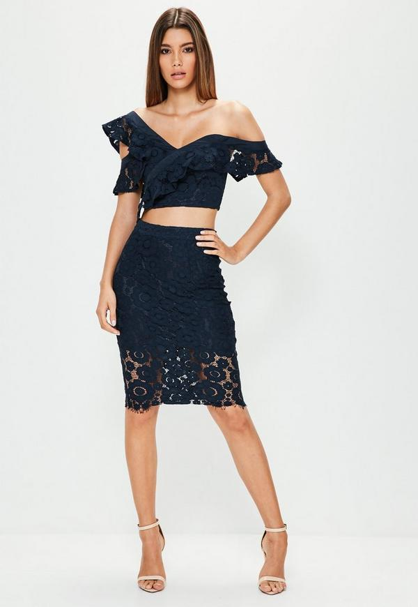 Navy Floral Lace Midi Skirt - Missguided