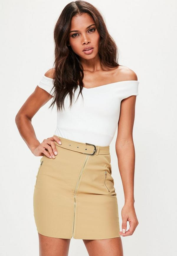 Tan Zip Through Belted Detail Mini Skirt