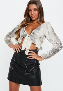 Black PU Studded Faux Suede Detail Mini Skirt