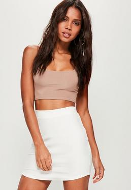 White Ponte Curve Hem Mini Skirt