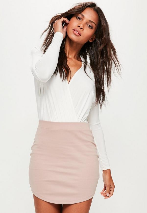 Pink Ponte Curve Hem Mini Skirt