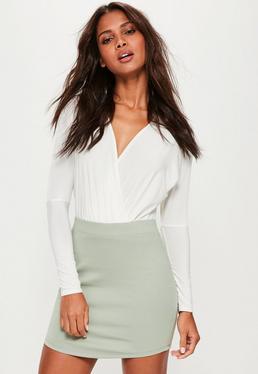 Green Ponte Curve Hem Mini Skirt