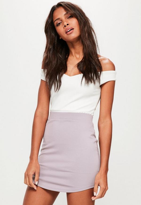 Grey Ponte Curve Hem Mini Skirt