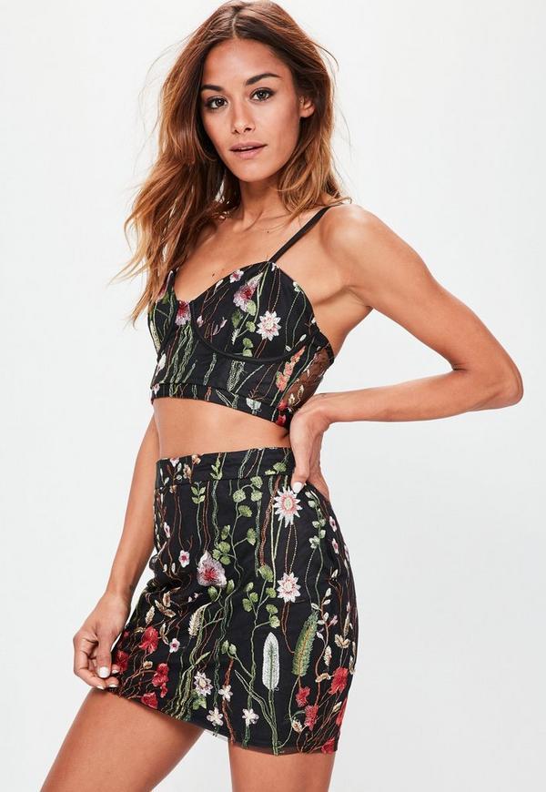 Premium Black Floral Embroidered Mesh Mini Skirt