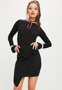 Black Jersey Crepe Tie Side Asymmetric Mini Skirt