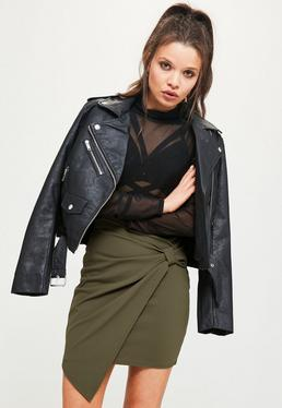 Khaki Jersey Crepe Tie Side Asymmetric Mini Skirt