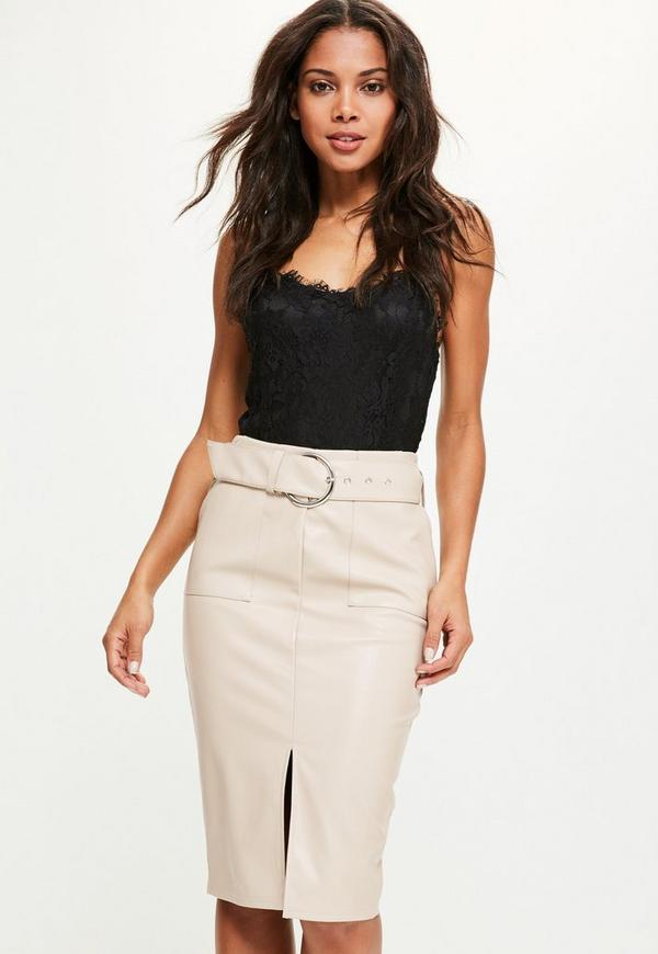 Nude Faux Leather Pocket Detail Tie Waist Midi Skirt | Missguided