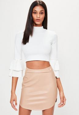 Nude Faux Leather Mini Skirt