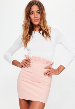 Pink Crepe Frill Waist Detail Mini Skirt