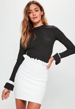White Crepe Frill Waist Detail Mini Skirt
