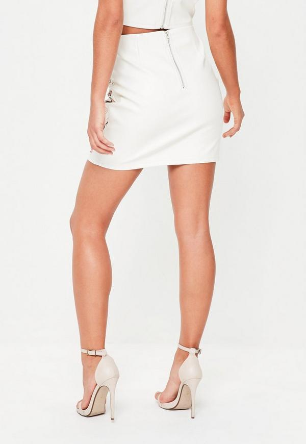 Cream Faux Leather Hook Eye Mini Skirt | Missguided