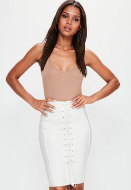 Premium White Lace Up Bandage Midi Skirt