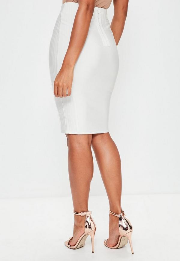 premium white lace up bandage midi skirt missguided
