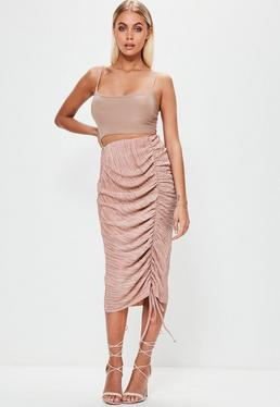 Pink Pleated Ruched Side Midi Skirt