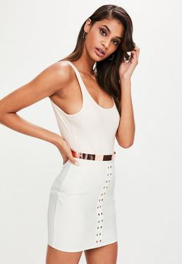 Premium White Eyelet Detail Bandage Mini Skirt