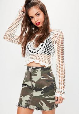 Green Camouflauge Zip Through Mini Skirt