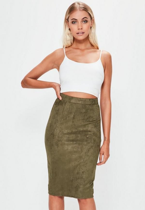 Khaki Berryana Faux Suede Midi Skirt