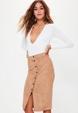 Tan Button Through Faux Suede Midi Pencil Skirt