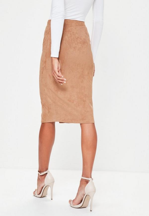 Tan Button Through Faux Suede Midi Pencil Skirt | Missguided