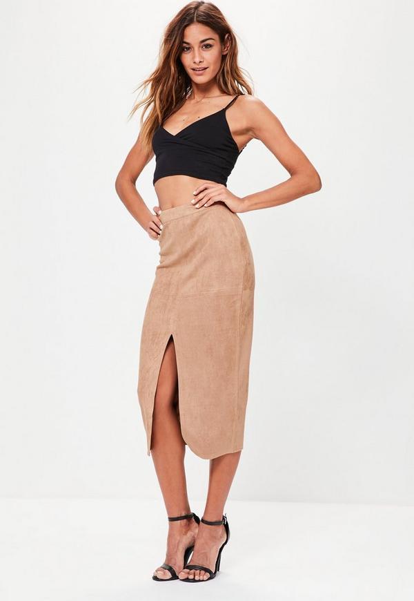 Tan Faux Suede Longline Split Midi Pencil Skirt