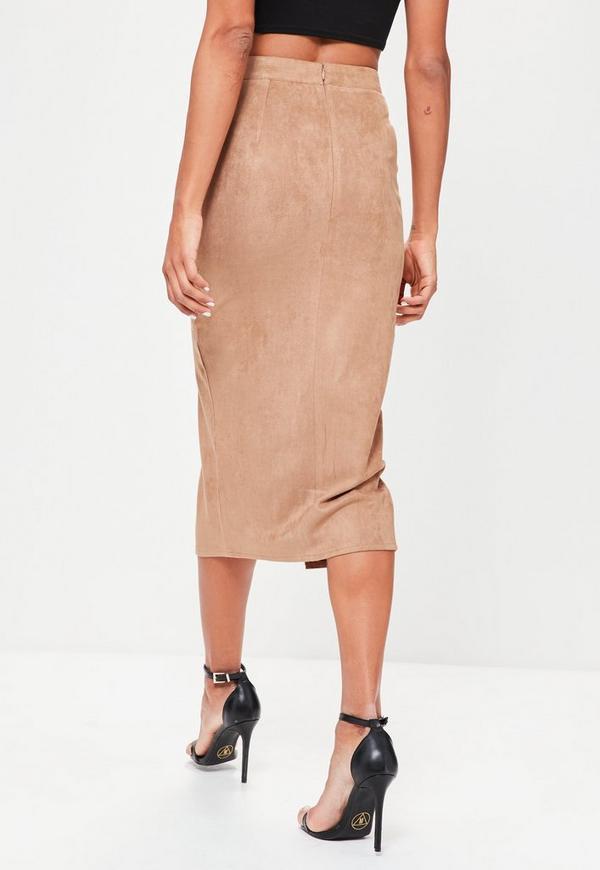 faux suede longline split midi pencil skirt missguided