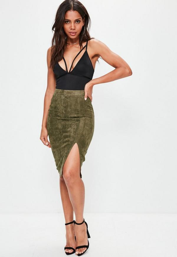 Khaki Thigh Split Faux Suede Midi Skirt