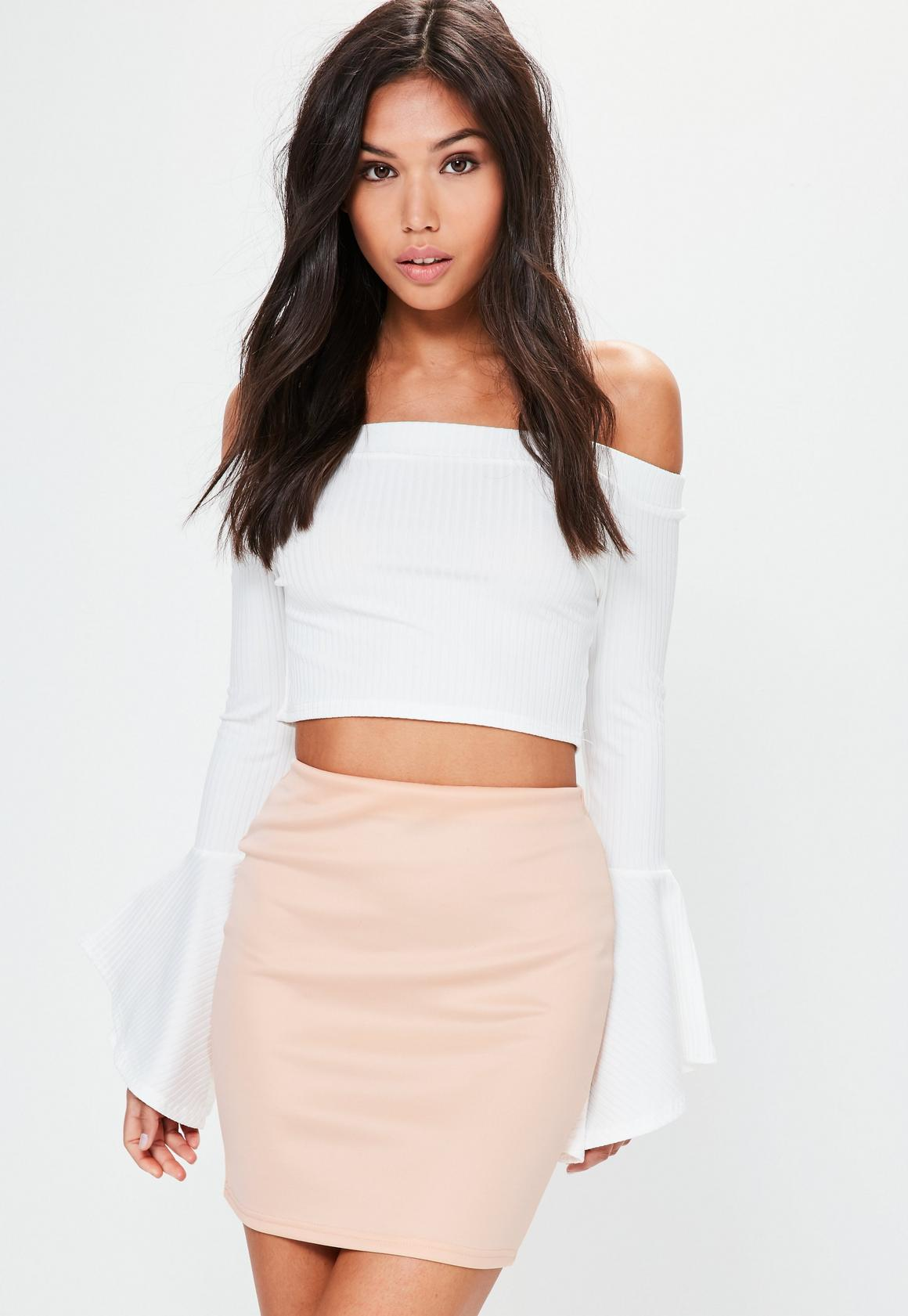 Nude Scuba High Waisted Mini Skirt | Missguided