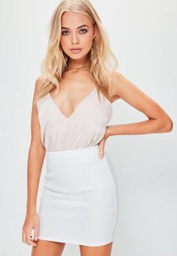 Mini jupe blanche en néoprène taille haute