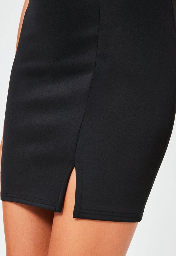 Black Scuba Split High Waisted Mini Skirt | Missguided