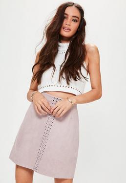 mini jupe violette en suédine à lacets