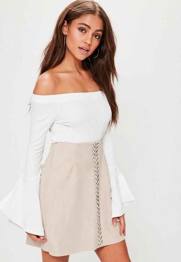 Tan Whip stitch Detail Faux Suede Mini Skirt