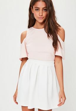 White Scuba Skater Skirt