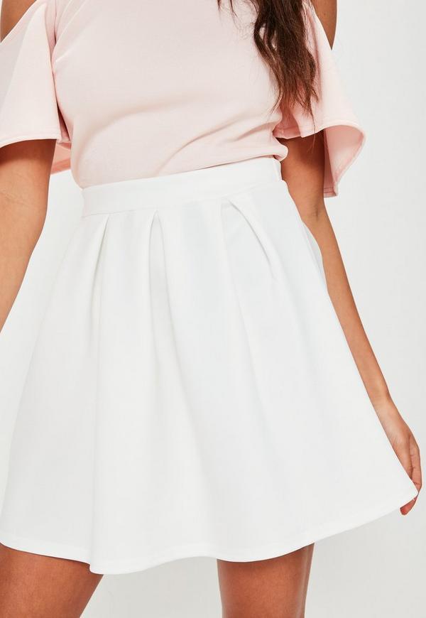 White Scuba Skater Skirt | Missguided