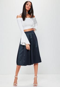 Navy Satin Pleated Waistband Full Midi Skirt