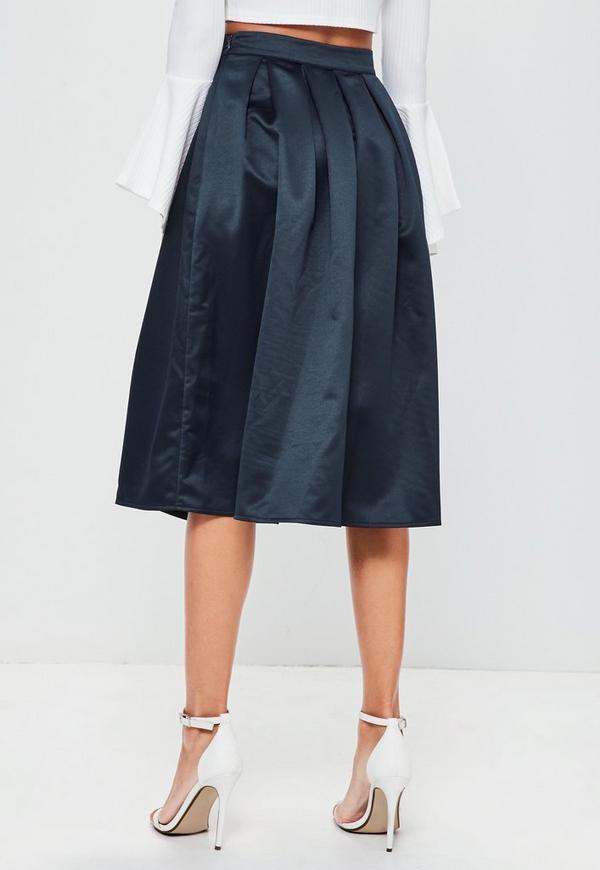navy satin pleated waistband midi skirt missguided