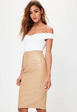 Tan Faux Leather Seam Detail Midi Pencil Skirt