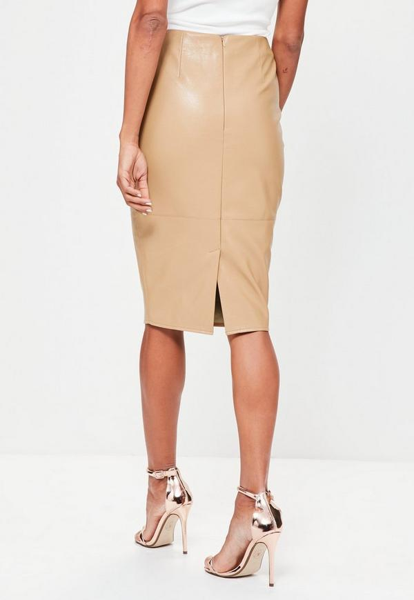 faux leather seam detail midi pencil skirt missguided