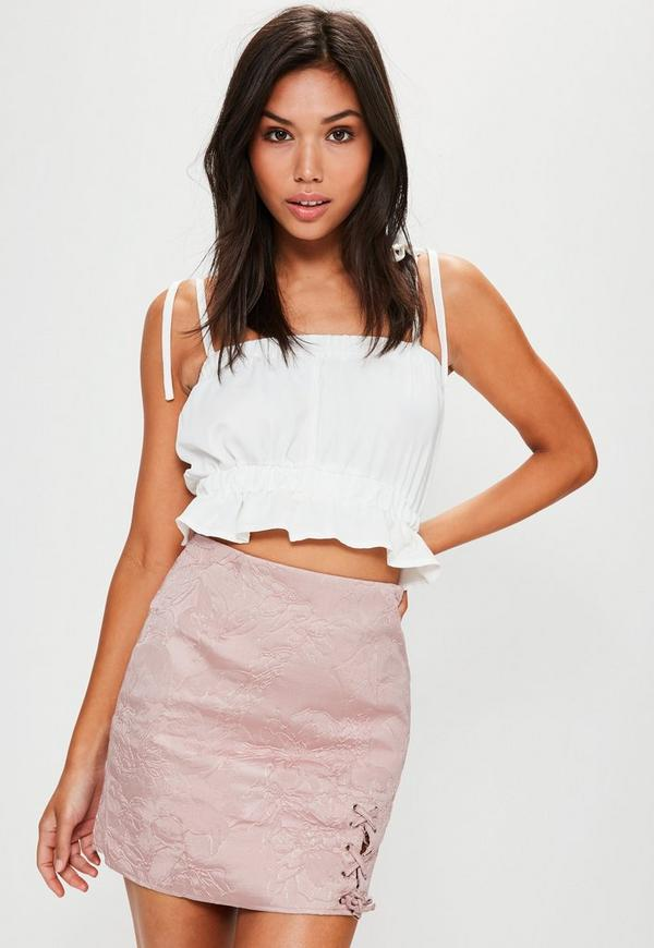 Pink Embroidered Jacquard Lace Up Side Mini Skirt