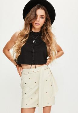 Cream Faux Suede Studded Tie Belt Mini Skirt