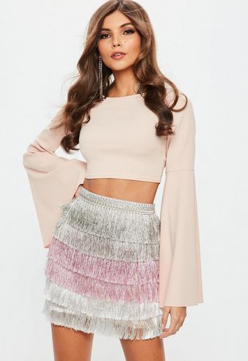 Pink Multi Tiered Fringe Stripe Mini Skirt Missguided