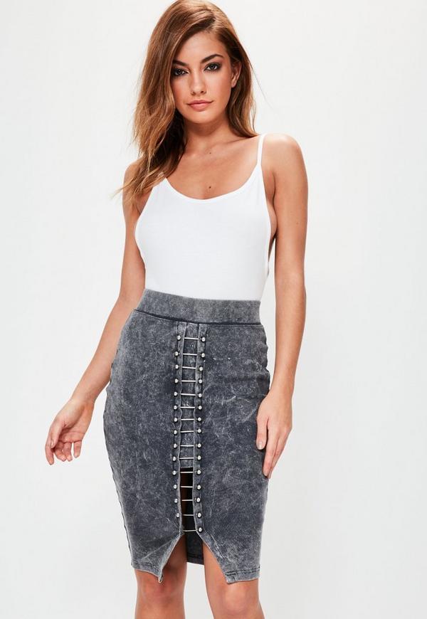 Grey Washed Ribbed Bar Detail Midi Skirt