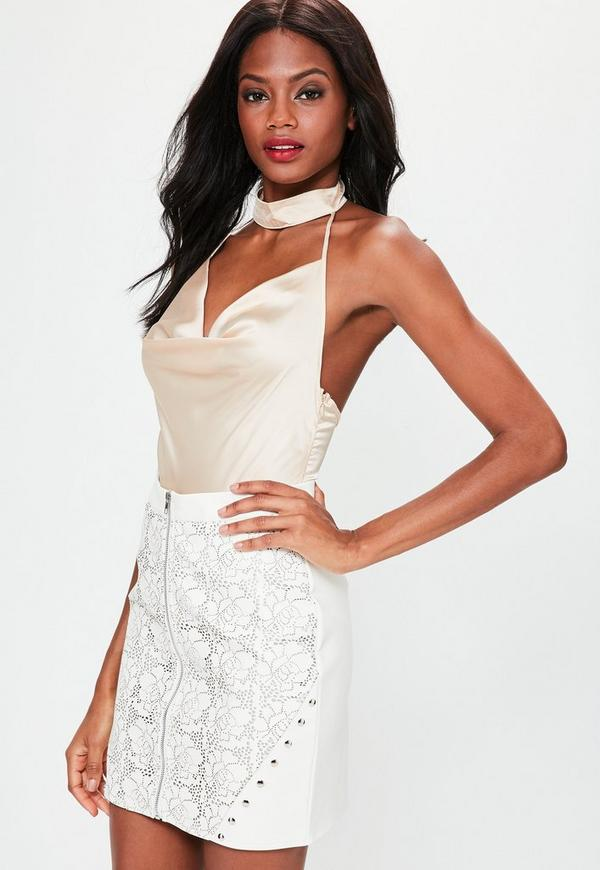 White Lazer Cut Zip Through Studded Detail Mini Skirt