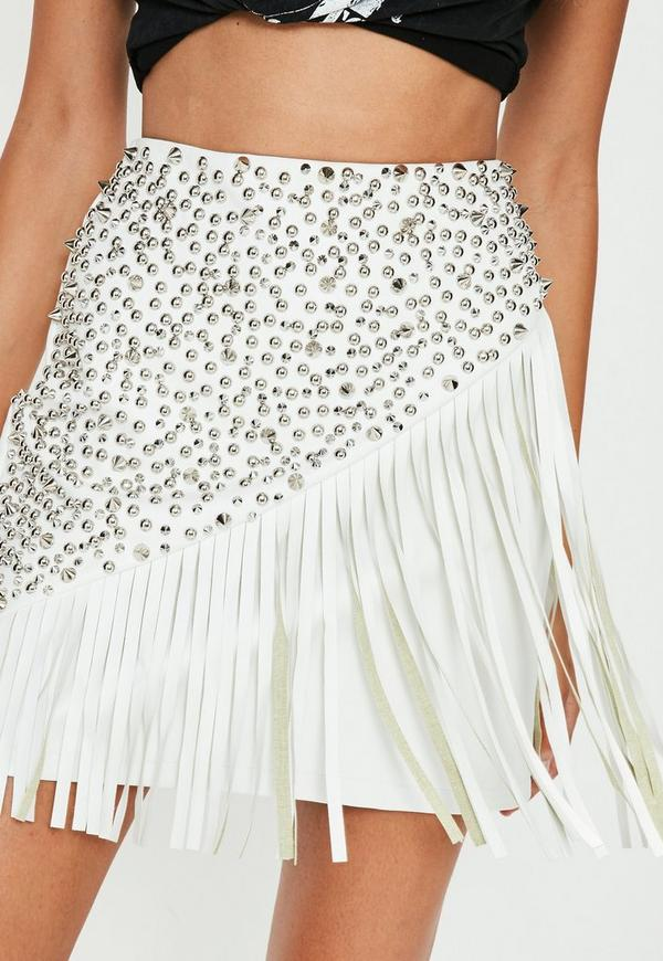 Cream Studded Fringe Faux Leather Mini Skirt | Missguided
