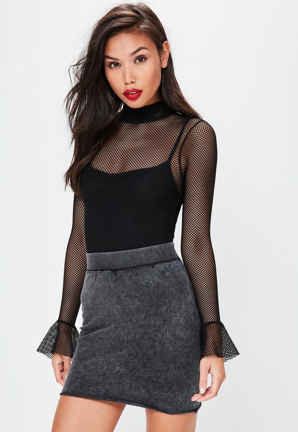 Grey Washed Raw Hem Mini Skirt